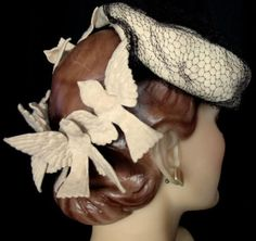 Wonderful Vintage 40's Tilt Hat with Birds NY Creation