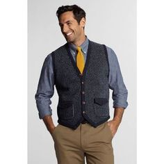 not too hot on the pockets, but like the vest. Men's Lambswool FairIsle Button Sweater Vest from Lands' End Mens Fashion, Fashion Outfits, Fashion Ideas, Knit Vest, Men Sweater, Clothes For Women, My Style, Sweaters, Waist Coat