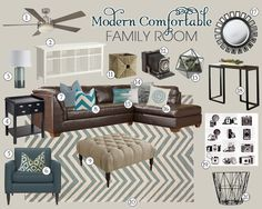 Modern Comfortable Family Room Mood Board from Teal and Lime