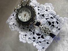 Lace bracelet with watch Romantic bracelet watch lace white, dark blue victorian Renaissance -BE-LE cuff
