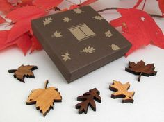 Mini Wood Leaf Ornament Gift Box Set of 5 - Sustainable Harvest Wisconsin Wood . Timber Green Woods $16 free shipping