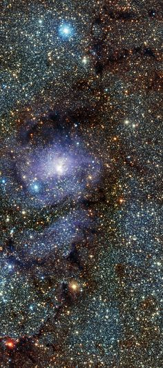 The Lagoon Nebula (also known as Messier 8/M8 or NGC 6523) is a giant interstellar cloud and emission nebula located in the constellation Sagittarius approximately 5,000 light-year from earth. The nebula contains a number of Bok globules, which can be seen as dark, collapsing clouds of gaseous material. This Particular image shows a star forming central region in infrared and was captured by the VISTA telescope at ESO's Paranal Observatory in Chile. Credit: ESO/VISTA