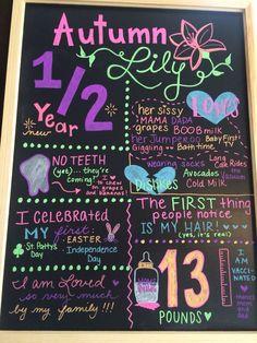 Half Birthday Ideas For Girls 6 Months Diy & Half Birthday Ideas For Girls 6 Months Half Birthday Baby, Half Birthday Cakes, Birthday Board, Birthday Photos, Girl Birthday, Birthday Ideas, Husband Birthday, Birthday Parties, 6 Month Baby Picture Ideas