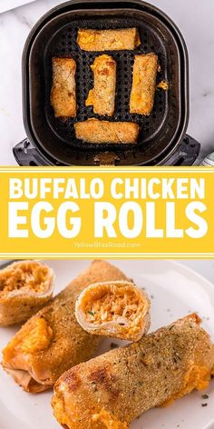 Buffalo Chicken Egg Rolls are a fun game day appetizer that's the best of both worlds! Crunchy egg rolls are filled with a creamy buffalo chicken filling, then cooked in the air fryer for a crispy texture that's healthier and lighter than deep frying.