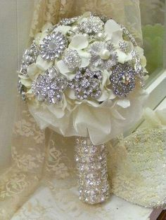 Wedding Day Bling. Bouquet.