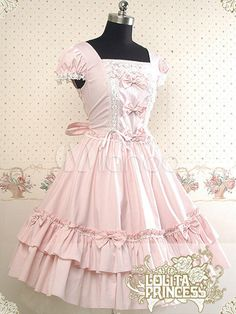 Attractive Multicolor Short Sleeves Square Collar Cotton Lolita Sweet Dress