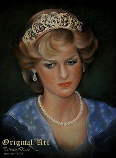 "«Princess Diana» by VENUS ● pastel ● 19"" x 25"" inch ● 1999"
