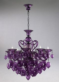 Purple Glass Chandelier 8 Light Murano Style Violet French Vintage Chic New The Purple, Purple Home, Purple Glass, All Things Purple, Shades Of Purple, Purple Stuff, Purple Chandelier, Blown Glass Chandelier, Purple Ceiling