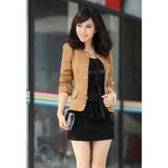 HOT PRICE & GOOD LOOKING Sammydress.com $10.78 Elegant Solid Color Bowknot Embellished Cotton Blend Blazers For Women