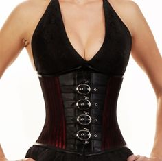 215 Red and Black Buckle Underbust Corset
