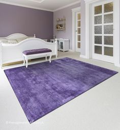 Reko Purple Rug A Semi Plain Handmade Viscose Cotton Modern 4 Sizes