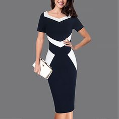 Women's Party Work Plus Size Casual Street chic Bodycon Dress,Color Block Sweetheart Knee-length Short Sleeves Polyester Spring Summer 2018 - $17.59