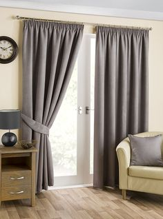 Hamilton McBride Belvedere Blackout Pewter Lined Readymade Curtain Pair 66x108in(167x274cm) Approx