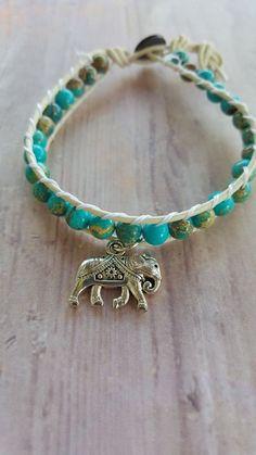 Turquoise imperial jasper stone boho bracelet with elephant charm.  $14.99 @ lavenderskyherbals.com #boho#stones#bracelet#elephant#leather#summerchic#lavenderskyherbals