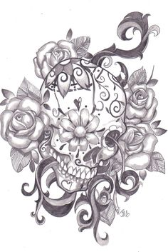 Tattoo idea skulls and flowers