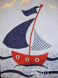 LOVE this sailboat baby quilt, which was designed by the writer, put together as a kit and sewn by a master quilter. Great idea -- find something you love, create a pattern and if you aren't a quilter, find someone to assemble it for you! Quilt Baby, Sailboat Baby Quilt, Nautical Baby Quilt, Diy Baby Quilting, Baby Quilt Patterns, Applique Patterns, Applique Quilts, Patchwork Quilting, Patchwork Cushion