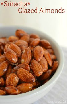 Sweet and Spicy Sriracha Glazed Almonds are the perfect snacking food! Easy to make and full of flavor! Bring a little heat to your game day snacks. Spicy Almonds, Candied Almonds, Roasted Almonds, Glazed Almonds Recipe, Healthy Superbowl Snacks, Game Day Snacks, Savory Snacks, Party Snacks, Appetizer Recipes