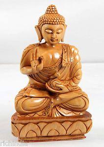 Buddha Statue wooden Handicraft artisan Buddhism Sculptural decor Japan Korea  gift item.