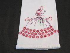 Vintage White Embroidered Sun Bonnet Girl Purple Red Dress White Crochet Edge
