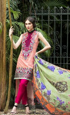 The fashion flows free with this elegant printed shirt and embroidered neck and border and accompanied by a silk dupatta. This design rounds off by catering to those who possess a real flare for festivities, fashion and a flare for life!