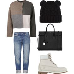 A fashion look from December 2014 featuring Calvin Klein Collection jackets, Levi's jeans and Timberland boots / Polyvore
