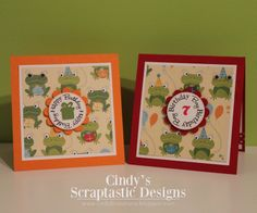 So I used the Scallop & Stitched Circle Die with the All Around Birthday Time Stamp Set and I used the little gift box from All Around Holidays Stamp Set, and to one of the little frog I added some googly eyes!!! the inside I used the  Celebrate Good Times Stamp Set for the sentiments and added some washi tape!!!!! http://www.cindybcreations.blogspot.ca/2014/02/mct-made-is-minutes.html