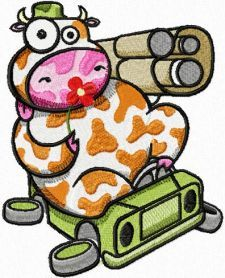 cow_in_jeep.jpg. Machine embroidery design. www.embroideres.com