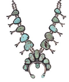 Blue and green turquoise squash blossom necklace
