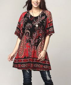 Another great find on #zulily! Black & Red Paisley Boyfriend Tunic - Plus #zulilyfinds