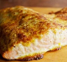 Baked Parmesan Salmon - VERY tasty!  Used Miracle whip, added lemon juice and tarragon, and it was lovely!
