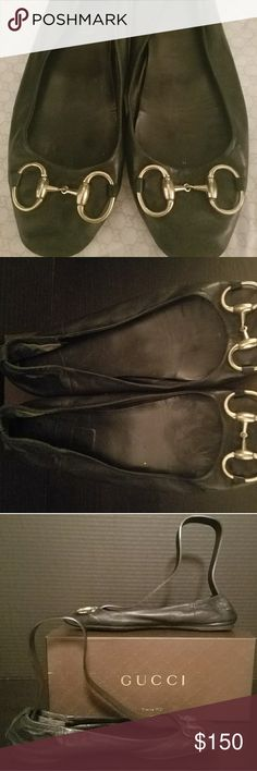 "Gucci horsebit ballet flats Gucci elastic back calf leather ballet flats, gold horsebit hardware, GG soles. Classic, comfortable,  lightweight style. They are showing ""signs of enjoyment "" (scuffing) at the toes, but easily polished. See pics. Gucci box included. Gucci Shoes Flats & Loafers"