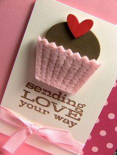 fel cupcake card by monica cipolla Valentine Day Cards, Be My Valentine, Cute Cards, Diy Cards, Envelopes, Cupcake Card, Cupcake Wrapper, Card Tags, Paper Cards