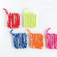 カラフルキッチュなアクリルタワシ5色キット|編み物キットオンラインショップ・イトコバコ