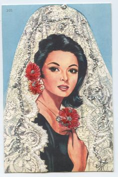 Embroidered Silk Fabrics Spain Flamenco Dance Ethnic Dress 1960s Postcard