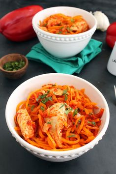 Try out the recipe of the day! - Kycen Vegetable Spiralizer - Vegetable spiralizer recipe: Roasted red pepper butternut squash noodles with chicken Spiral Vegetable Recipes, Vegetable Side Dishes, Veggie Recipes, Paleo Recipes, Cooking Recipes, Butternut Squash Noodle, Chicken Spaghetti Squash, Squash Noodles, Healthy Cooking