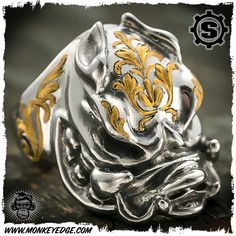 Starlingear Ring: Hog - Stainless w/24k Gold Takeuchi Engraved
