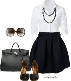 Black & White! Perfect for work! - Click image to find more Women's Apparel Pinterest pins