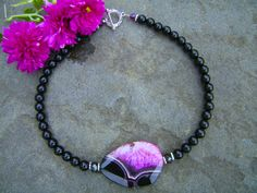 Agate of My Eye, Pink Agate and Black Onyx Handcrafted Necklace. Imagine wearing this with solid pink or black - what a beautiful statement it would make of your uniqueness! Handcrafted by yours truly. :)
