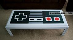 Polish The Stars: Nintendo Controller Coffee Table, painted. Awesome man cave idea!! ~ use an ikea table