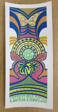 Original silkscreen concert poster for Phish in Florida for New Years 2014. It is printed on Watercolor Paper with Acrylic Inks and measures around 10 x 22 inches.  Print is signed and numbered out of 150 by the artist Tripp.
