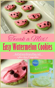 Who knew you could make such fun and delicious watermelon cookies from a box mix. Perfect for any summer time event.