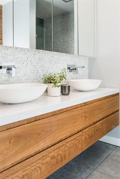 neutral bathroom design, modern farmhouse bathroom with white walls andfloating bathroom vanity with vessel sink and hex tile Neutral Bathroom, Wood Bathroom, Laundry In Bathroom, Bathroom Layout, Modern Bathroom Design, Ensuite Bathrooms, Bathroom Interior Design, Small Bathroom, Luxury Bathrooms