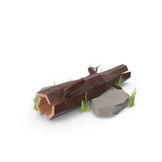 Low Poly Log with Rocks Object