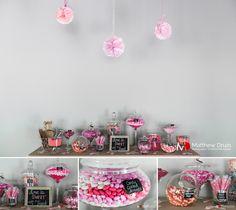 Pink candy bar at wedding reception at rustic modern Atlanta wedding.  NO TRAVEL FEES ANYWHERE IN THE US!