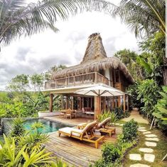 """""""This is the famous resort in Sumba-- also in the world: Nihiwatu Resort. It's a five star eco-retreat, absorbing Sumbanese culture. It's also well-known…"""" Interior Tropical, Bamboo House Design, Beautiful Homes, Beautiful Places, Tropical Beach Houses, Jungle House, Rest House, Beach Bungalows, Resort Villa"""