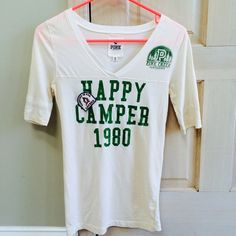 "PINK Happy Camper Tee Ridiculously cute PINK ""Happy Camper"" tee! In perfect condition with no stains or rips. PINK Victoria's Secret Tops"