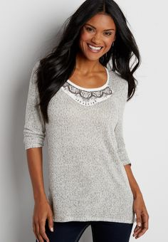 pullover with chiffon back and embellished neckline $34.00 now $20.40