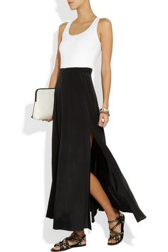 DKNY | Color-block stretch-jersey and stretch-silk dress  | NET-A-PORTER.COM