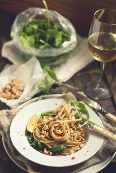 Lemon-Yogurt Linguine with Arugula, Sugar Peas, & Roasted Hazelnuts | The Gouda Life