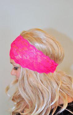 Lace Headband Pink  Bright Neon Hot Pink Adult Headband by lucymir, $9.99